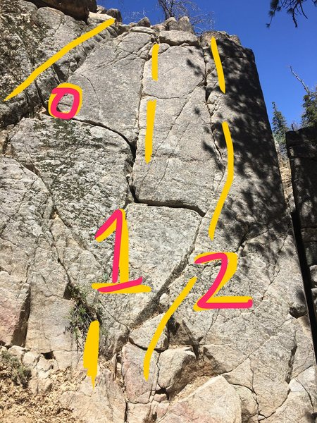 Deep creek SW face. Crack 0 (5.2) 1 (5.6) 2 (5.6).