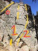 Rock Climbing Photo: Deep creek SW face. Crack 0 (5.2) 1 (5.6) 2 (5.6)....