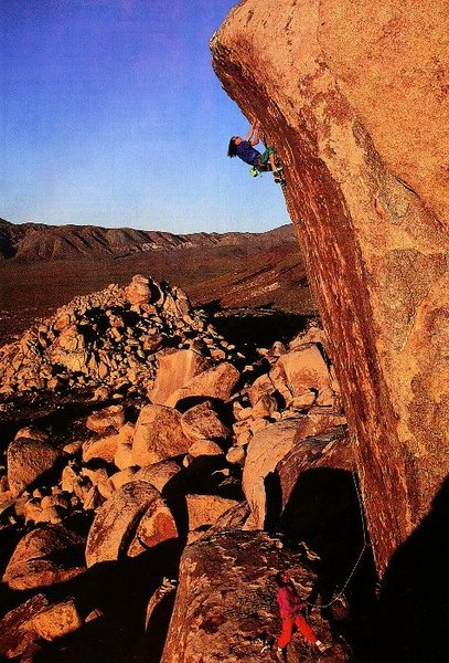 John Mireles belayed by Scott Cosgrove on New World Order (5.13b AO), Joshua Tree NP<br> <br> Photo by Greg Epperson (http://gregepperson.com/)