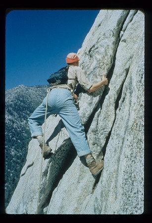 Rock Climbing Photo: John Wedberg climbing at Tahquitz in the 1950'...