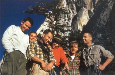 Tahquitz Rock BITD<br> <br> (left to right) Unknown, Mike Sherrick, Yvon Chouinard, Arkel Erb,  Unknown, Tom Frost <br> <br> Photo from Ellen & Charles Wilts Collection