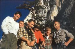 Rock Climbing Photo: Tahquitz Rock BITD  (left to right) Unknown, Mike ...