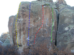 Rock Climbing Photo: L to R: Twist of Fate, 11d; Nature of the Beast, 1...