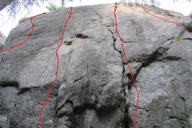 Dishonorable Wall- Left side<br> 1) Respect the Lawman- 12a<br> 2) Pain Tolerance- 12d<br> 3) Dishonorable Old Climbers- 10c