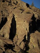 Rock Climbing Photo: Weird angle, but the right most crack thru the pod...
