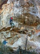 Rock Climbing Photo: Moving through the starting sequence.