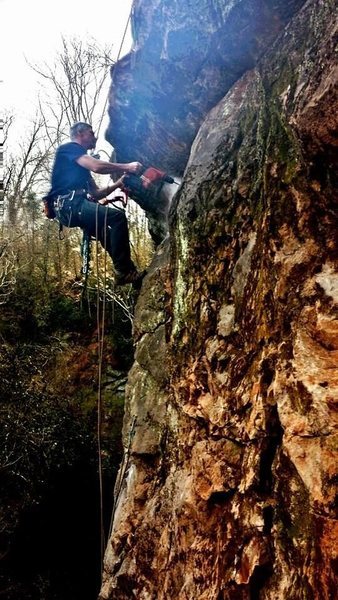 Rock Climbing Photo: I found an early photo of KB bolting at Ijams.  Lo...