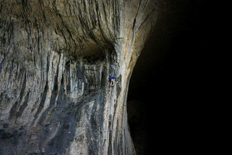 Rock Climbing Photo: David climbing 'Team Building'