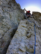 Rock Climbing Photo: The upper half of pitch 2 of Tomato, viewed from a...