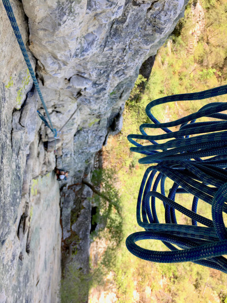 Rock Climbing Photo: The first half of pitch 2 of Tomato, viewed from a...