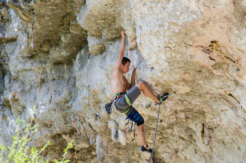 Rock Climbing Photo: Liang Wu starts out on 'Learning to Fly'  ...