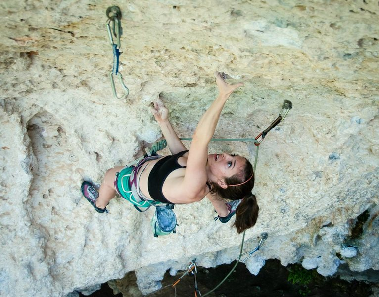 Rock Climbing Photo: Sarah Williams starts the crux of 'Head'  ...