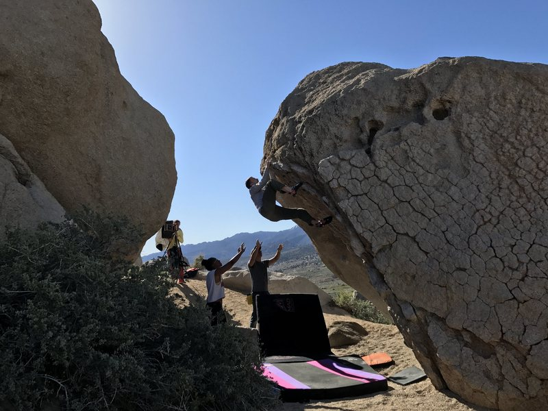Rock Climbing Photo: Working the upper section of the Hero Roof on Apri...