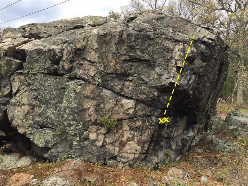 The SE corner of the boulder.