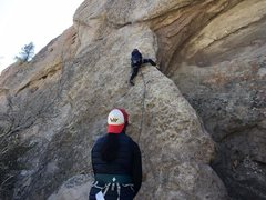 Rock Climbing Photo: Cold and windy morning on Overhanger.