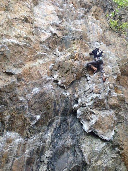 Rock Climbing Photo: Notice large flake to identify the climb