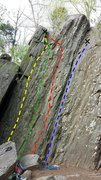 Rock Climbing Photo: Left to right, Swayback Layback, Swollen Head, Shi...