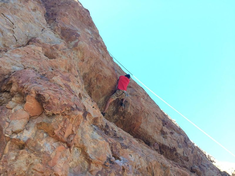 Rock Climbing Photo: Making the roof moves.