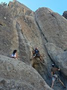 Rock Climbing Photo: Stemming for the opening moves of water crack. Can...