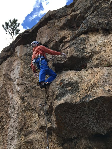 Rock Climbing Photo: Mike Lewis at the rest between the cruxes on Pin M...
