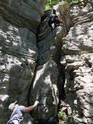 Brittany working up the arete.