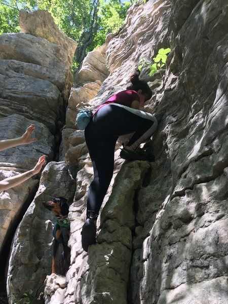 Rock Climbing Photo: Keili high-stepping up this easy warm-up