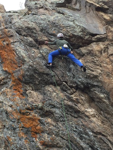 Rock Climbing Photo: Mike Lewis at the crux on the first bolted ascent ...