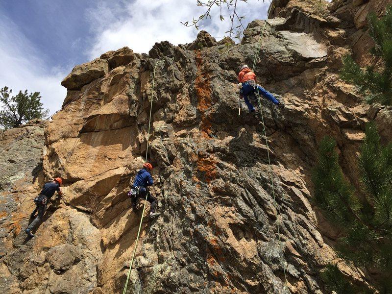 Rock Climbing Photo: Max Lurie, Bernardo Beteta, and Mike Lewis cleanin...