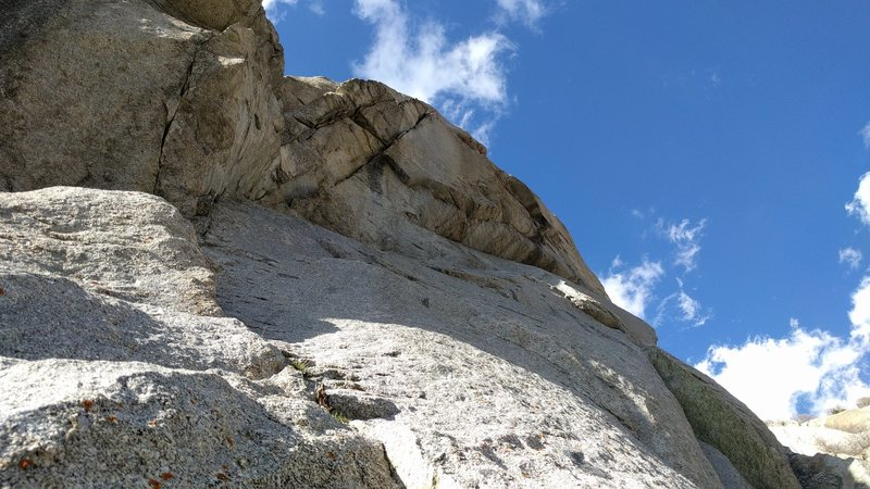 Rock Climbing Photo: Pitch one from below. It follows the corner up, th...
