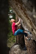 Rock Climbing Photo: Aaron Matheson setting up for the huck to the slot