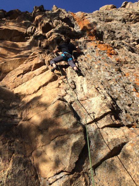 Mike Lewis on the first bolted ascent of I'll Be Back.