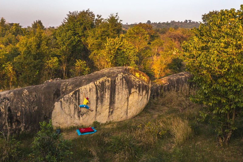 Bouldering in Khon Kaen. The largest boulder field in Thailand with great quality sandstone.