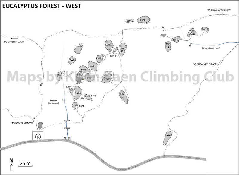 Map of West Eucalyptus Area made by Khon Kaen Climbing Club. Full maps with topo and pictures available.