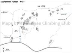 Rock Climbing Photo: Map of West Eucalyptus Area made by Khon Kaen Clim...
