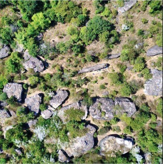 Bird eye view of lower meadow area. Lots of boulders!