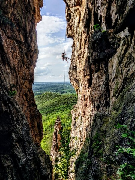 Rappelling at Crowders Mountain. Photo Creds: Jaron Moss