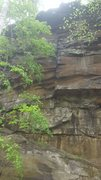 Rock Climbing Photo: The obvious crack on the far left of the wall. Rap...