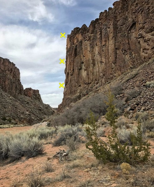 View of Winter Wall + Sun Devil Wall from the 5-min. approach.<br> Climber on P2 belay station of the Sun Devil route with awesome exposure.