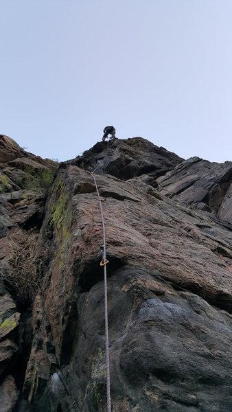 Rock Climbing Photo: Bill at the anchors.