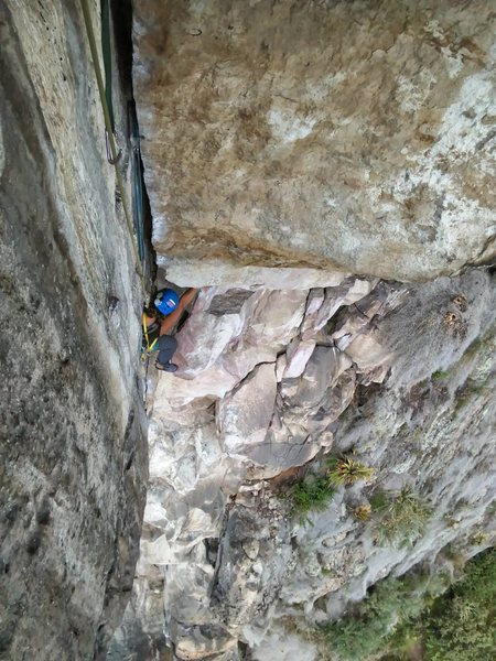 Climbering the 2nd pitch