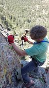 Rock Climbing Photo: Bolting the anchor on the Maw.