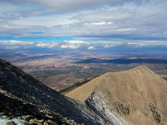 Looking down the summit ridge of Mt. Tuk with the Moab Valley beyond. October 2012