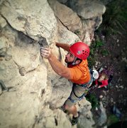 Rock Climbing Photo: Jason Krug working his way up the arete.
