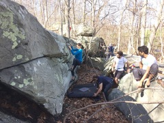 Rock Climbing Photo: Rachel on the first ascent. We cleaned poison ivy ...