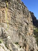 Rock Climbing Photo: El Polvorin - pilier dorada marked in yellow (bott...