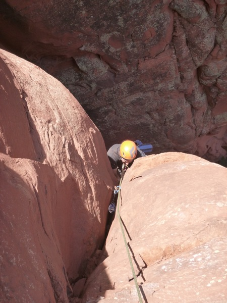 Rock Climbing Photo: Dave overcoming the last of the steepness.