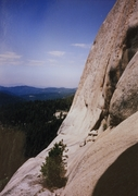 Rock Climbing Photo: View of the upper ledge and the head wall section ...