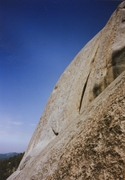 Rock Climbing Photo: View of X crack and the wall above.