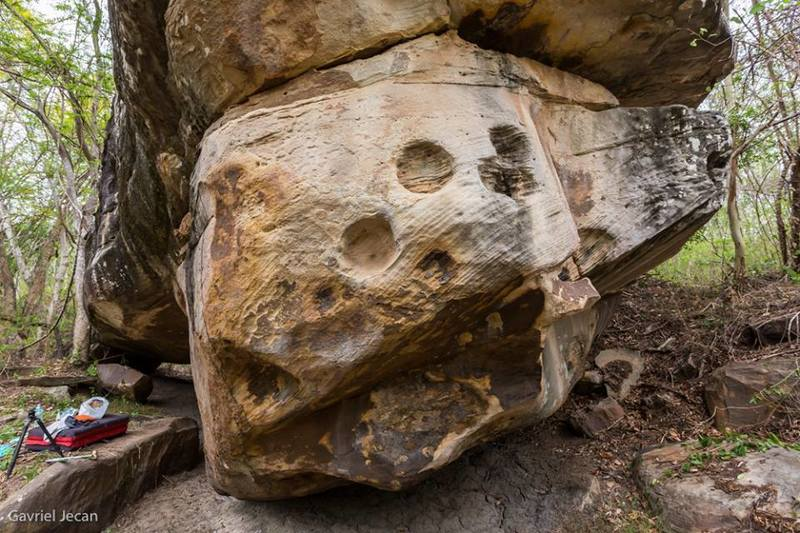 Monster in the forest boulder
