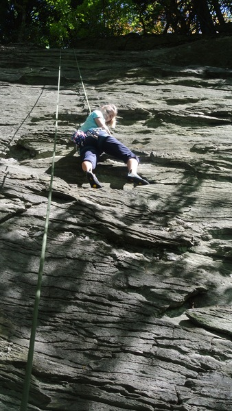 Rock Climbing Photo: Grace Brennan figuring out the moves.